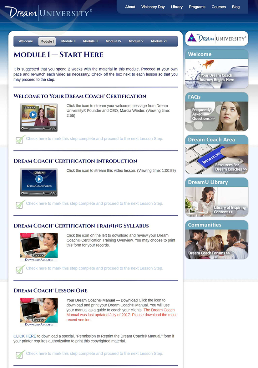 Download Online Dream Coach Certification