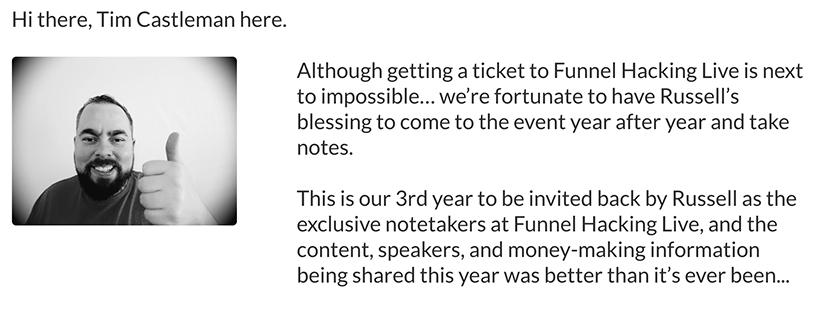 Tim Castleman - Funnel Hacking Live Notes 2017